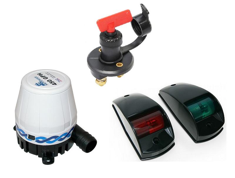 Электрические компоненты (эл. помпа, выкл. массы, ходовые огни, эл. проводка)